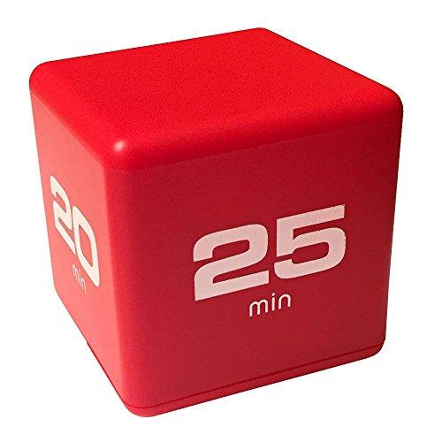 Datexx Time Cube Der Wunder-Zeitwürfel mit 5, 10, 20 und 25 Minuten für das Zeitmanagement - Küchen-Timer - Hausaufgaben-Timer - Trainings-Timer - Meeting-Timer | rot