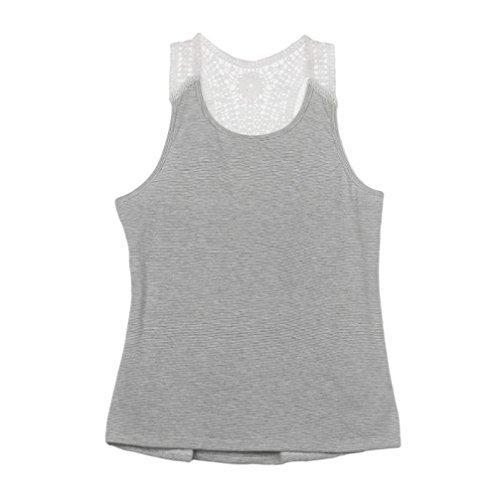 LONUPAZZ debardeur femme sans manches tops veste tank tops chemise blouse Gris