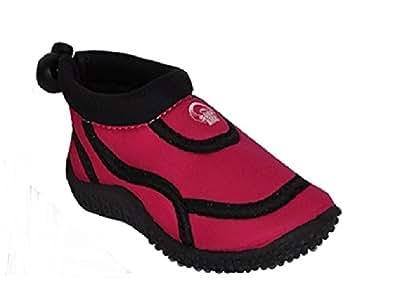 Filles Velcro Aqua plage Douche d'eau Chaussures Rose (10 Uk 28)