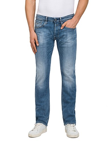 Replay Herren Newbill Straight Jeans, Blau (Mid Blue Denim 10), W31/L32 -