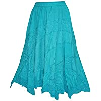 Mogul Interior Women's Skirt Sea Green Embroidered Peasant Maxi Skirts M