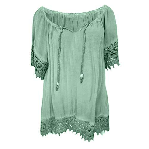 Zegeey Damen T-Shirt GroßE GrößEn Kurzarm Rundhals Einfarbig RüSchen Sommer Oberteil Blusen Shirts Tops LäSsige Lose(A2-Grün,EU-42/CN-XL) -