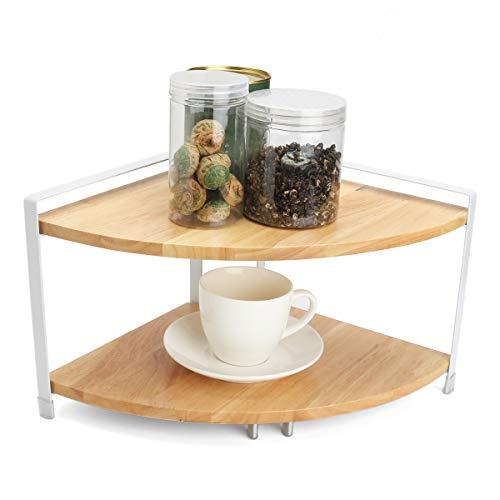 HELEISH 2-Tier-Küche aus Holz Ecke Regal Display Rack-Muttern kann Glas Speicherorganisator Zubehörwerkzeug -