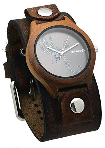 Nemesis #NFB261L Men's Natural Wood Case Wide Leather Cuff Band Newt Dial Watch
