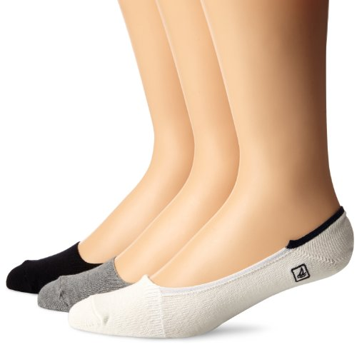 's Skimmers Solid 3 Pair Pack Liner Socks, Charcoal Heather/Black, 10-13 (Shoe Size 6-12) ()