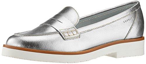 ESPRIT Damen Oska Loafer Slipper, Silber (Silver), 39 EU