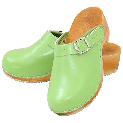 Holzschuhe Clogs Pantoletten Holzclogs Sandalette Orthopädisch Leder Holz Schuhe Gr. 36-41 NEU Hellgrün
