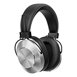 Pioneer SE-MS7BT(S) Bluetooth Over-Ear Headset (Microphone, High-Res Audio, NFC, 12 Hour Playback, High Comfort, for Smartphone, Tablet, Hifi System, Aluminium Design), Silver-Black