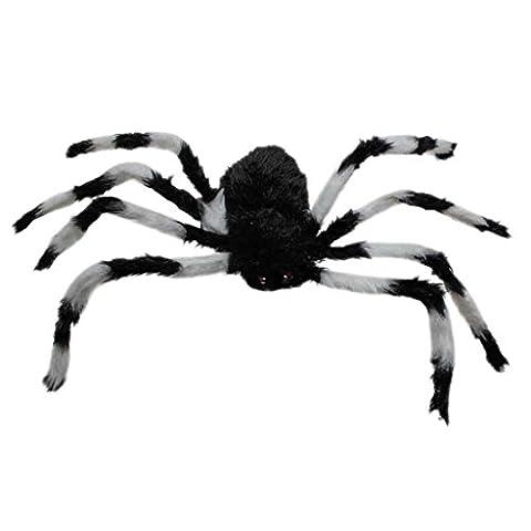 75cm Coloré Grosse Araignée En Peluche Jouet Décoration pour Jeu Halloween - Noir Et Blanc