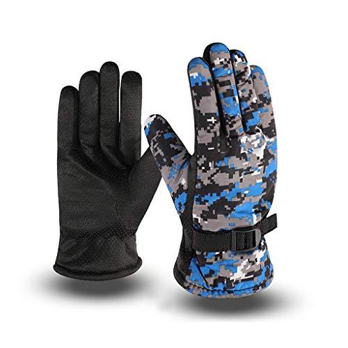 Vaeiner Mens Winter Gloves,Mens Winter Waterproof Thermal Full Finger Gloves Thick Plush Lining Camouflage Print Anti-Slip Palm Adjustable Snow Ski Mittens