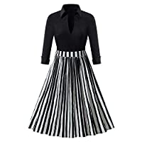 Discount Boutique Dress Autumn and Winter Black and White Striped Lapel Cotton Vintage Dress