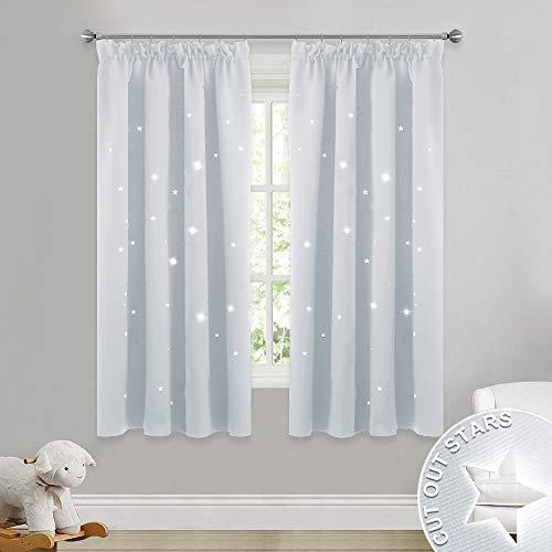 Pony dance tende a panello con stelle vuote bianche grigio per finestre camera bambini/decorazione casa interni finestre cameretta salotto, 2 pezzi, 116 x 137 cm (l x a)