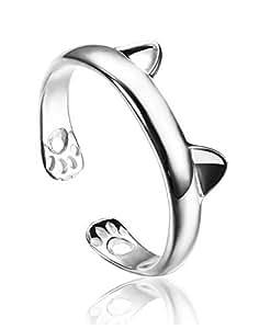 Karatcart Cat Ear Platinum Plated Elegant Adjustable Ring for Women