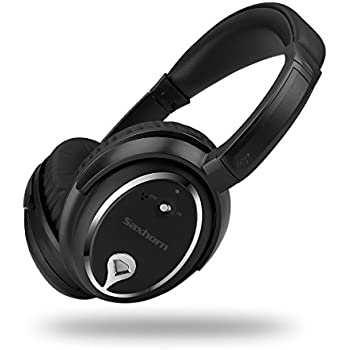 Active Noise Cancelling Over-ear Headphones, Saxhorn ANC J2 Closed Back Headphones with Buit-in Microphone Wire, Black, Wired