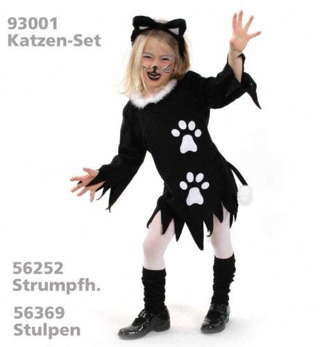 Kätzchen Kleid Katze Plüsch Mädchen Kostüm Gr. 152 (Katze Schwarz Plüsch Kostüme)