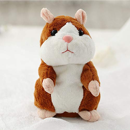 elegantstunning Lovely Talking Plush Hamster Toy, Can Change Voice, Record Sounds, Nod Head Or Walk, Early Education for Baby, Different Size for Choice Bright Brown and Nodding