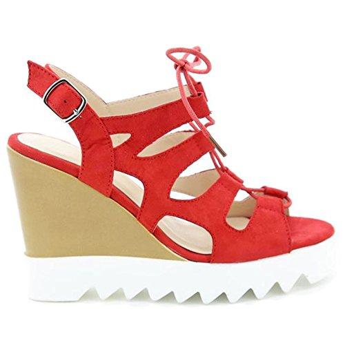 Toocool - Scarpe donna open toe sandali zeppa effetto stringhe Queen Helena nuove X17-18 Rosso