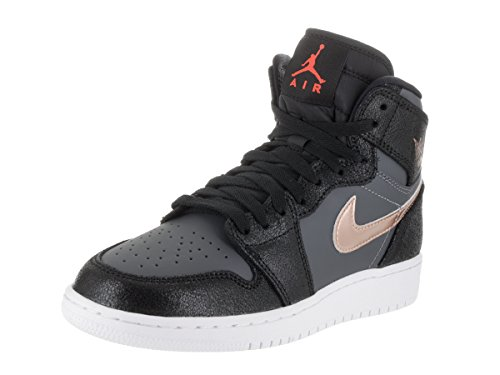 Nike Jungen Air Jordan 1 Retro High Bg Basketballschuhe Black (Black (schwarz / rot MTLC Bronze-dunkelgrau-weiß))