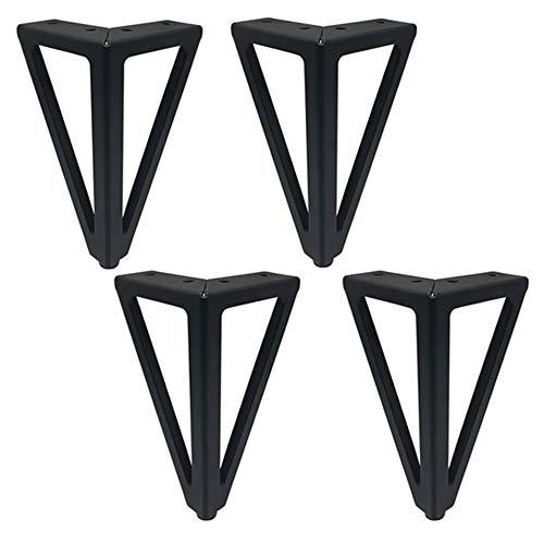 AZXC 4 × Schwarz Metall MöBel Fuß Sofa StüTzbeine Tv-Tisch Couchtisch ErhöHt Verdickung Fuß Tischbeine Haarnadel Schutz FüßE (Senden Schrauben, 15,5 cm)