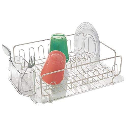 mDesign égouttoir à vaisselle en plastique et acier inoxydable – sèche-vaisselle pour l'évier – étendoir à vaisselle avec bac récepteur – jusqu'à 12 assiettes et couverts – transparent/argenté mat