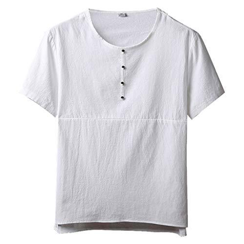 SANFASHION Herren T-Shirt V-Ausschnitt Sommer Freizeit Lose Baumwolle Hanf Tops Klassiker Slim-Fit Workout Bekleidung