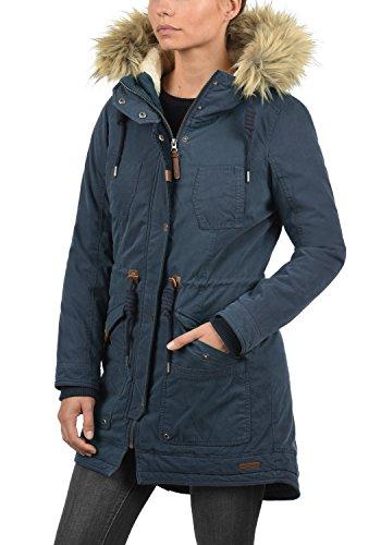 DESIRES Liv Damen Parka lange Jacke Winter-Mantel mit Fell-Kapuze und Teddy-Futter aus hochwertiger Baumwollmischung Insignia Blue (1991)