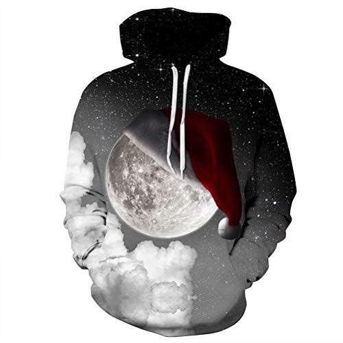Unisex Galaxy Santa Hut Gedruckt Pullover Kordelzug Kapuzen Sweatshirt Hoodie