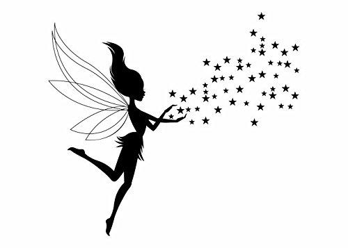 Wandtattooladen Wandtattoo - Elfe mit Sternen-Set Größe:110x98cm Farbe: Schablone