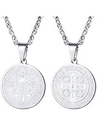 38e6ac5bf5b VREELANT Collar 45 cm con Medalla San Benito Acero Inoxidable