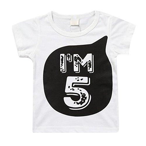 Juleya Kinder Baumwolle T-Shirt Ich Bin 1 2 3 4 5 6 Alter Tops Kleinkind Nettes T Für Jungen Mädchen Ich Bin 5 130 cm -