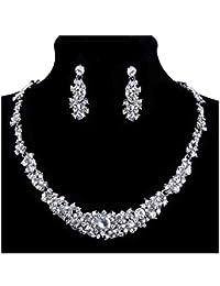 StillCool Collar Pendientes Fiesta Aretes para Mujer Diamantes de Imitación Boda Nupcial Joyas Set