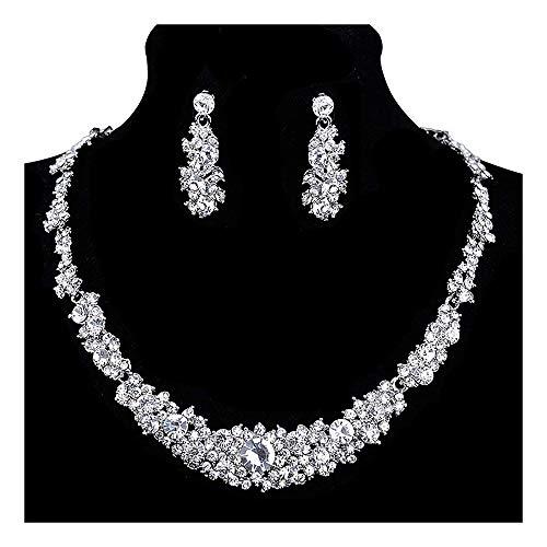 StillCool Collar Aretes Boda Nupcial Conjunto Joyería Paseo Cristal Diamante de imitación mujeres Joya Banquete Fiesta Moda