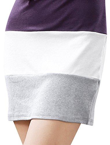 sorcingmap® Allegra K Damen Tief Rundausschnitt Langarm Saum kittel Shirt Bluse Dress Lila