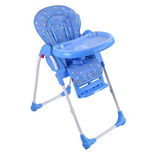 COSTWAY Hochstuhl Kinderhochstuhl Babyhochstuhl Hochsitz Treppenhochstuhl Farbwahl klappbar (Blau)