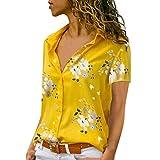 ITISME Damen Bluse T Shirts, 2019 Prime Frauen Bluse V-Ausschnitt Striped Cuffed Kurzarm Contrast Stitching Gefälschte Tasche Tops Sommer Frühling Straßenkleidung Sexy Geschäfts Party