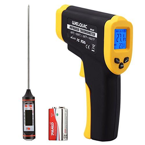 WELQUIC Laser Infrarot Thermometer, Doppelter Pyrometer Temperaturmessgerät -50 bis +550°C, Berührungslos Thermometer Digital LCD Beleuchtung, gelb schwarz