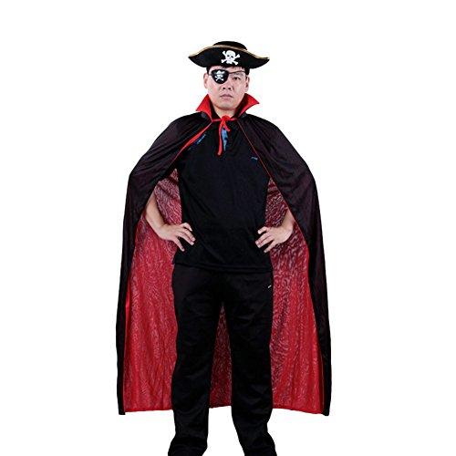 Damen Herren Halloween Kostüm Set Erwachsener Umhang + Flache Piratenhut + Eyeshade Karneval Fasching Mantel Stehragen Cape Kootk Cosplay Mäntel Schwarz Rot Kapuzenumhang Bühnentracht (Kostüme Hund Erwachsener)