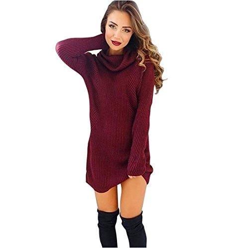 Sannysis Damen Langarm-Pullover Rollkragen Pullover Bluse Kleid (S, Wein)