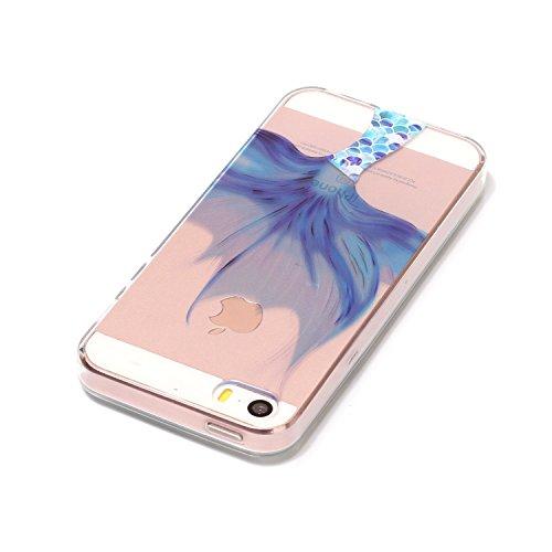 iPhone SE 5 5S Hülle, iPhone SE 5 5S Weiche flexible Silikon-Handy-Hülle ,Cozy Hut iPhone SE 5 5S Schutzhülle Case Silikon- Crystal Clear Ultra Dünn Durchsichtige Backcover Handyhülle TPU Case für iPh Meerjungfrau