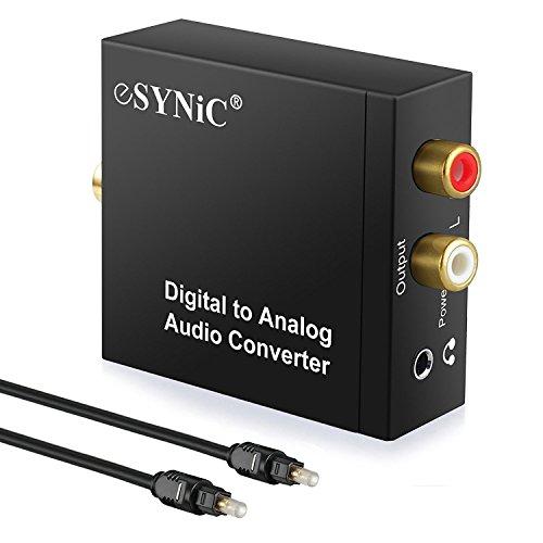ESYNiC DAC Convertidor Digital a Analógico con Cable Coaxial/Óptica a RCA Toslink y SPDIF Transformador de HDMI Audio para PS3 4 Xbox Android Box AppleTV Blu-ray Home Cine