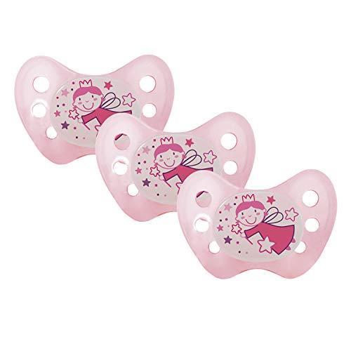 Dentistar® Night Schnuller 3er Set - Nuckel Silikon in Größe 2, 6-14 Monate - zahnfreundlich, kiefergerecht & leuchtend - Nacht-Leuchtschnuller, Fee Rosa