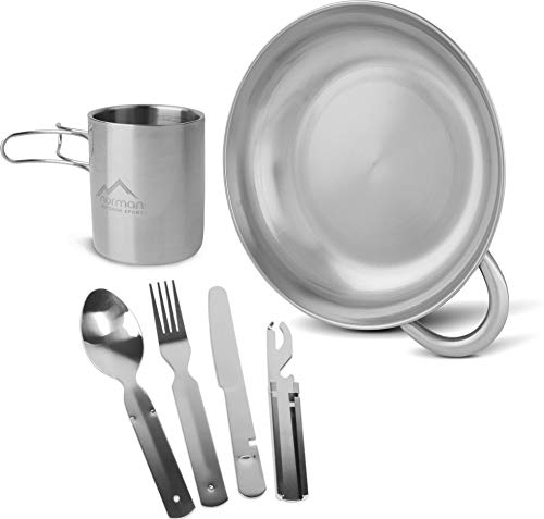 normani 7-teiliges Outdoor Geschirr-Set bestehend aus großer Schale, Tasse und Besteck - Rostfreier Edelstahl - wiederverwendbar, hygienisch, umweltfreundlich für Camping, Wandern, Reisen -