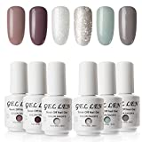 Gellen Vernis Semi Permanent - Vernis à Ongles Vernis Gel UV LED Nail Polish Varnish Soak Off Manucure 6 Couleurs 8ml Nail Art Lot, Lot Basique