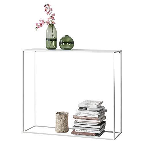 [en.casa] Konsolentisch Beistelltisch 95x110x32 cm Wohnzimmertisch Industrie-Design Metall Weiß