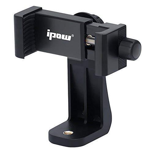 """Ipow Universal Handy Stativ Adapter Smartphone Halterung Kompatible mit Stativ Tripod Selfie Stick Monopod mit Standard 1/4\""""-20 Schraubenkopf, für iPhone Samsung Huawei u.m (Schwarz)"""