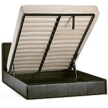 Storage Bed Faux Leather Double 4ft6in Ottoman Prado Black