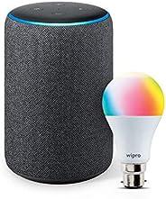 Amazon Echo (3rd Gen, Black) bundle with Wipro 9W Smart LED bulb