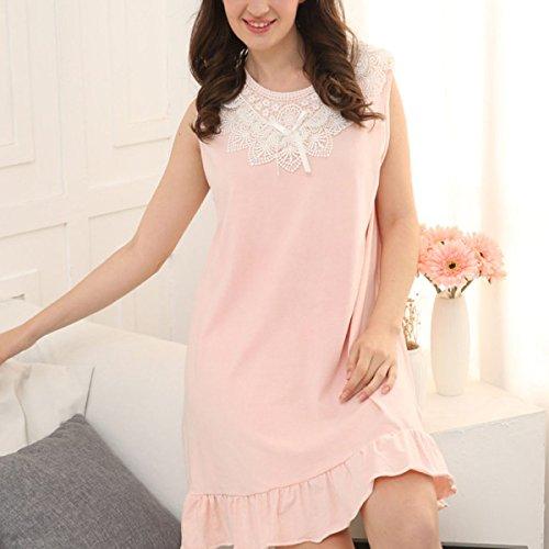Ragazza Estate Grande Allentato Cotone Camicia Da Notte Pigiami Grigio Rosa XL-XXXL Pink