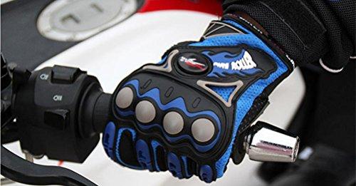 Guanti all'aperto maschile pieno dito ciclismo moto Powersports donna guanti antiscivolo Racing , blue (Guanti Moto Meteo Pelle)