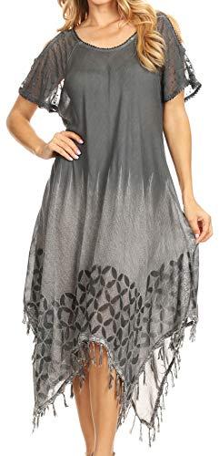 Sakkas 19288 - Robe d'été décontractée mi-Longue à Manches Longues pour Femmes - Gris - OS